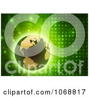 Clipart 3d Globe On A Green Futuristic Background Royalty Free CGI Illustration