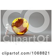 Clipart 3d White Guy Leaning Against An Orange Globe Royalty Free CGI Illustration