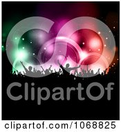 Clipart Silhouetted Crowd Against Colorful Music Speakers Royalty Free Vector Illustration