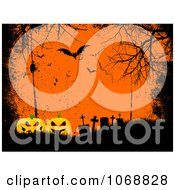 Clipart Grungy Orange Halloween Cemetery Background Royalty Free Vector Illustration