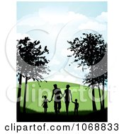 Clipart Silhouetted Family Holding Hands And Walking On A Path Royalty Free Vector Illustration