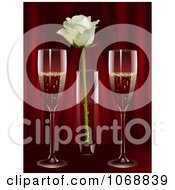 Champagne And A Rose Against Red Curtains