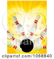 Clipart 3d Bowling Strike With Stars And Flares Royalty Free Vector Illustration