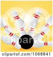 Clipart 3d Bowling Strike With Yellow Flares Royalty Free Vector Illustration by elaineitalia