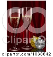 Clipart Champagne With Christmas Ornaments And Red Curtains Royalty Free Vector Illustration by elaineitalia