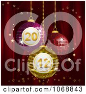 Clipart 3d New Year Bingo Ornaments With Stars On Red Royalty Free Vector Illustration by elaineitalia