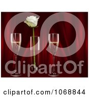 Clipart Champagne With A White Rose And Red Curtains Royalty Free Vector Illustration