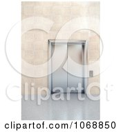 Clipart 3d Chrome Elevator In A Lobby 2 Royalty Free CGI Illustration by stockillustrations