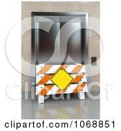 Clipart 3d Barrier Sign And Broken Elevator Royalty Free CGI Illustration