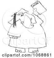 Outlined Graduate Elephant With A Diploma