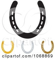 Clipart Gold Bronze Silver And Black Horseshoes Royalty Free Vector Illustration by michaeltravers