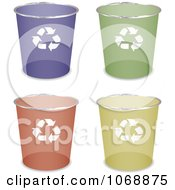 Clipart 3d Round Recycle Cans Royalty Free Vector Illustration