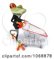 Clipart 3d Springer Frog Shopping In A Suit 2 Royalty Free Vector Illustration