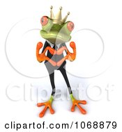 Clipart 3d Loving Springer Frog In A Suit And Crown Royalty Free Vector Illustration