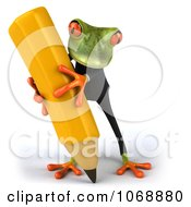 3d Springer Frog In A Suit With A Pencil 2