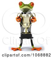 Clipart 3d Springer Frog In A Suit With A Trophy 1 Royalty Free Vector Illustration