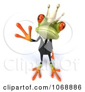 Clipart 3d Waving Springer Frog In A Suit And Crown Royalty Free Vector Illustration