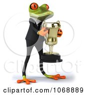 Clipart 3d Springer Frog In A Suit With A Trophy 2 Royalty Free Vector Illustration