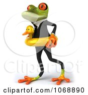 Clipart 3d Springer Frog In A Suit And Inner Tube 2 Royalty Free Vector Illustration