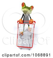 Clipart 3d Springer Frog Shopping In A Suit 1 Royalty Free Vector Illustration