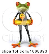 Clipart 3d Springer Frog In A Suit And Inner Tube 1 Royalty Free Vector Illustration