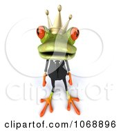 Clipart 3d Springer Frog In A Suit And Crown Royalty Free Vector Illustration