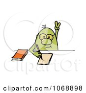 Clipart Roundy Guy Answering A Question In Class Royalty Free Vector Illustration by MilsiArt