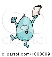 Clipart Roundy Guy Celebrating An A Grade Royalty Free Vector Illustration by MilsiArt