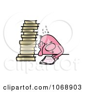 Clipart Roundy Guy Sleeping Over Homework Royalty Free Vector Illustration by MilsiArt