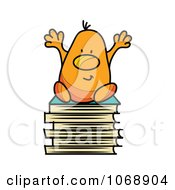 Clipart Roundy Guy Sitting On School Books Royalty Free Vector Illustration by MilsiArt
