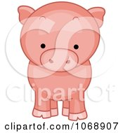 Clipart Cute Piggy From The Front Royalty Free Vector Illustration