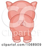 Clipart Cute Piggy From Behind Royalty Free Vector Illustration