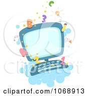 Clipart Educational Computer With Numbers And Letters Royalty Free Vector Illustration