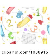 Clipart Seamless School Item Background Royalty Free Vector Illustration