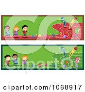 Clipart Preschool Kids Website Banners Royalty Free Vector Illustration