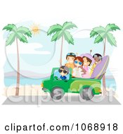 Clipart Summer Friends Driving On A Beach Royalty Free Vector Illustration by BNP Design Studio