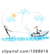 Clipart Stick Couple With A Wakeboard And Jetski Royalty Free Vector Illustration