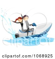 Clipart Stick Couple On A Jetski Royalty Free Vector Illustration
