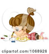 Clipart Cute Girl Coloring Royalty Free Vector Illustration