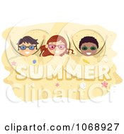 Clipart Kids Buried In Summer Sand Royalty Free Vector Illustration