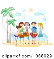 Clipart Stick People Having A Bbq Party On The Beach Royalty Free Vector Illustration