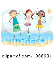 Three Stick Kids Standing In The Surf