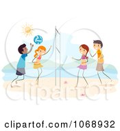 Clipart Stick Kids Playing Beach Volleyball Royalty Free Vector Illustration by BNP Design Studio