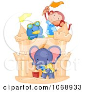Clipart Cute Animals Building A Sand Castle Royalty Free Vector Illustration