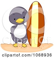 Clipart Surfer Penguin From The Front Royalty Free Vector Illustration by BNP Design Studio