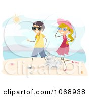 Clipart Stick Couple Walking Their Dog On A Beach Royalty Free Vector Illustration