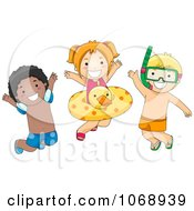 Clipart Three Summer Kids With Swimming Gear Royalty Free Vector Illustration