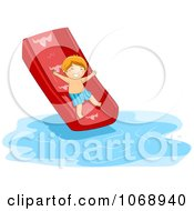 Boy Going Down A Water Slide