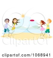 Clipart Stick People Playing Frisbee On The Beach Royalty Free Vector Illustration by BNP Design Studio