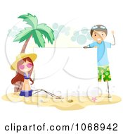 Clipart Summer Kids With A Blank Sign On A Beach Royalty Free Vector Illustration
